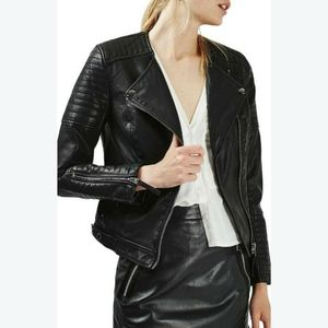 Topshop Nelly Faux Leather Biker Jacket  - Women's